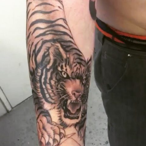 arm tiger tattoo