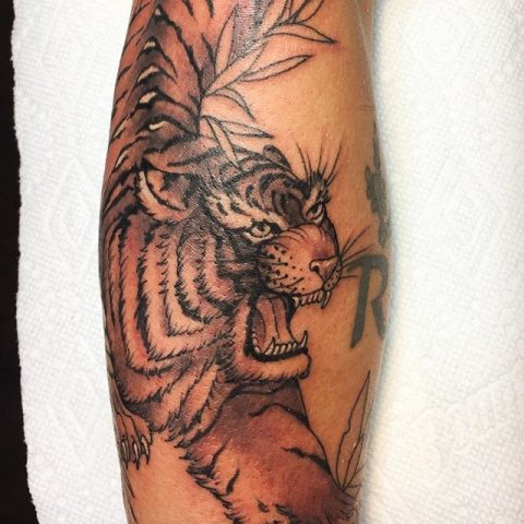 black and gray tiger arm tattoo