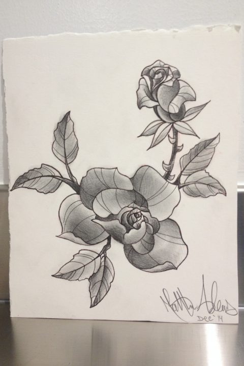 black and gray roses drawing