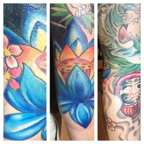 blue lotus and tiger sleeve