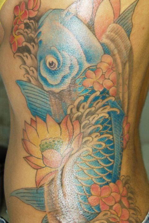 blue rib koi tattoo