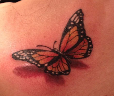 butterfly dropshadow tattoo