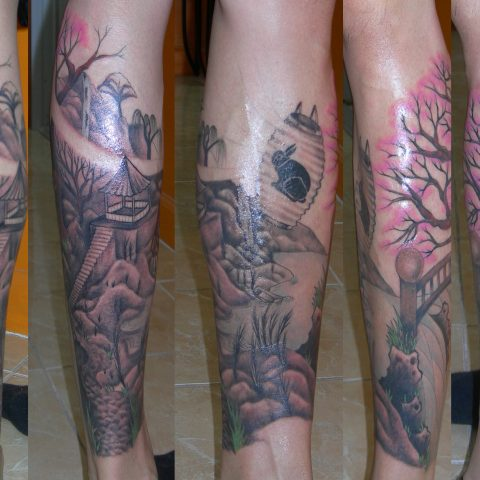 Japanese village leg tattoo