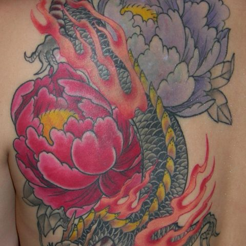 dragon and peony tattoo