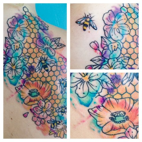 flowers and bees tattoo