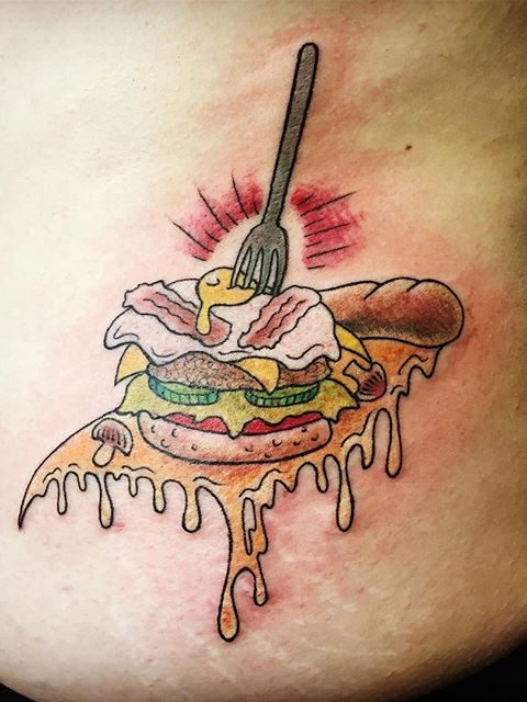 food with fork tattoo