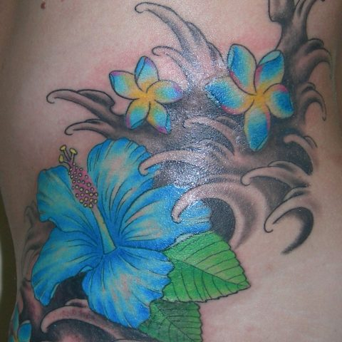 hibiscus and waves tattoo
