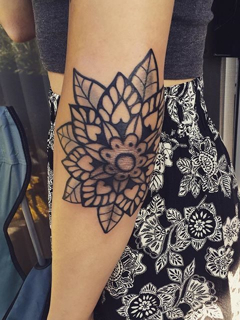 elbow mandala tattoo