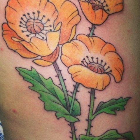 orange flowers tattoo