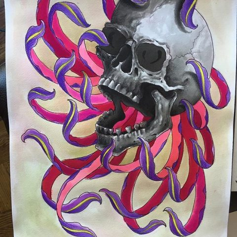 skull and color drawing