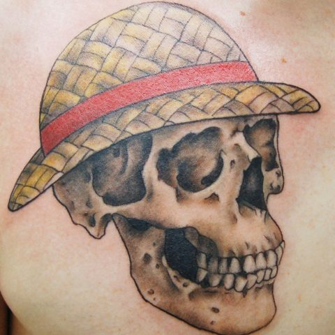 skull hat tattoo