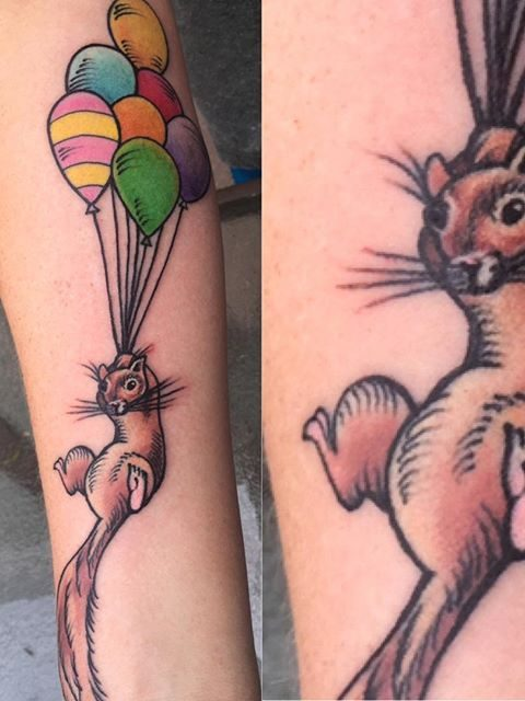 squirrel with balloons tattoo