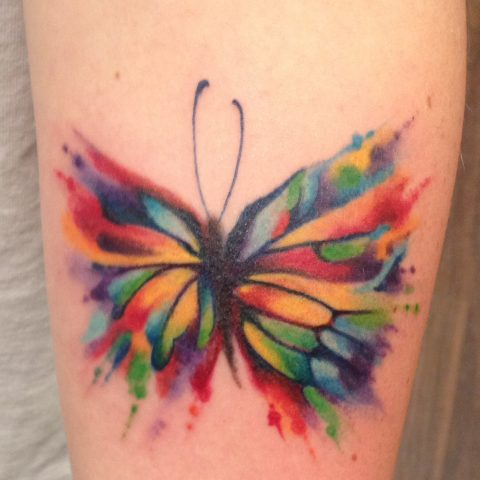 stained glass butterfly tattoo