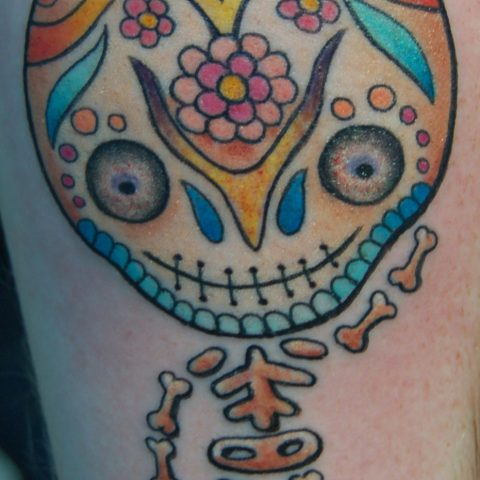 sugar skull cartoon tattoo