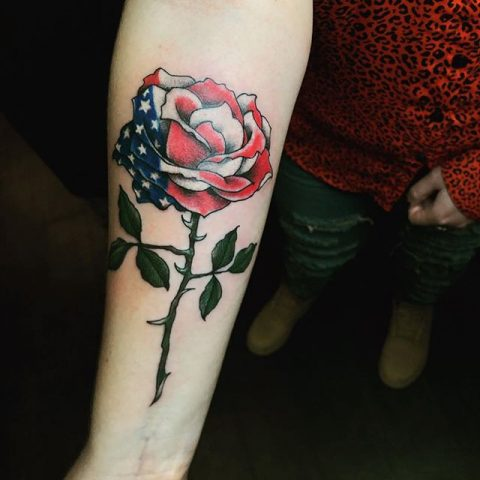 USA rose tattoo