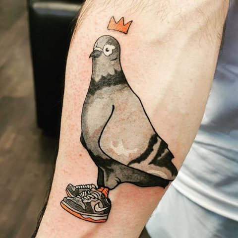 pigeon with nikes tattoo