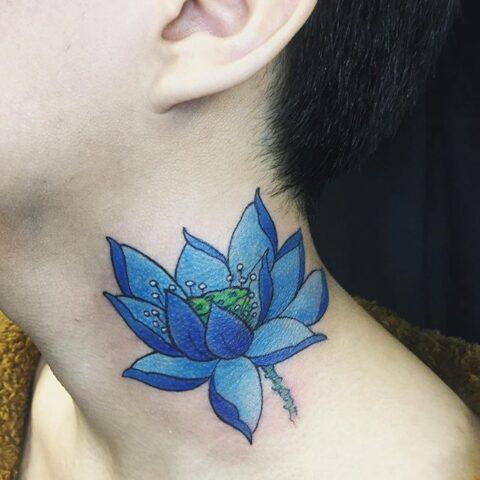 blue neck flower tattoo