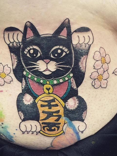 good luck cat tattoo