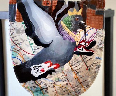 city pigeon skateboard