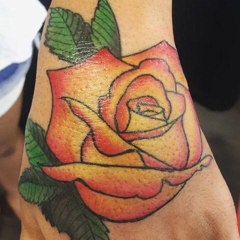 yellow red rose tattoo